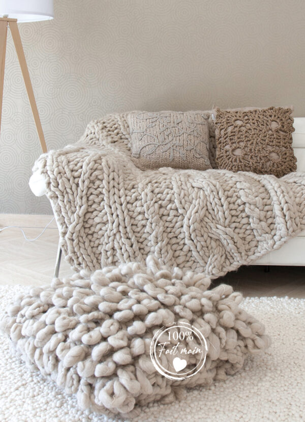 coussin grosse maille beige/taupe